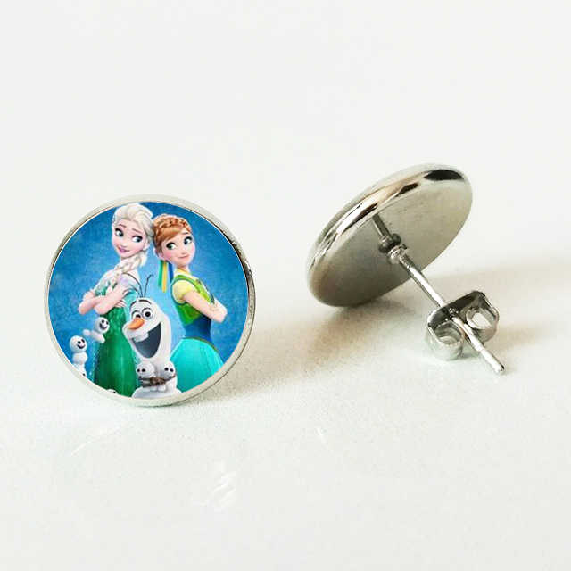 New Ge Elsa Anna Stud Earring Cartoon Girl Glass Jewel Stud Earring Girl Gift Cartoon Earring