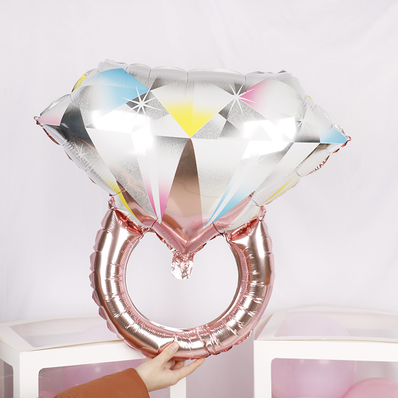 1pc 61*64cm Rose Gold Champagne wedding diamond ring Mylar Balloon Event Party Decorations Kit Valentine's Day Bridal Shower toy