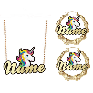 Custom character Cartoon name Cute Pink Horse Unicorn Design Necklaces earring Set Fashion Jewelry Kids Gift