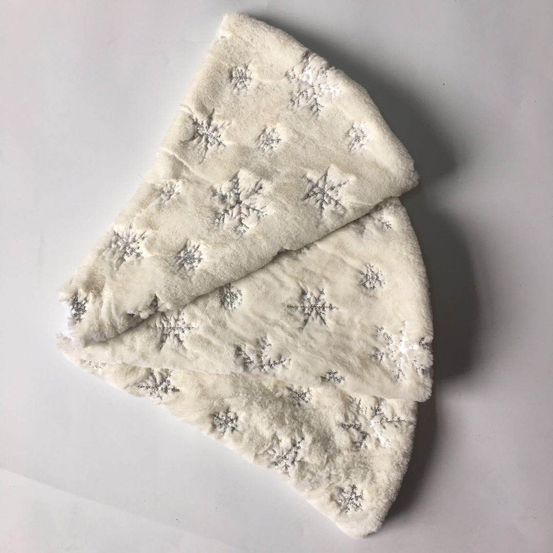 78/90/122cm White Flannel Embroidered Snowflake Christmas Tree Skirt Christmas New Year Home Decoration Tool Super Soft Cover-3