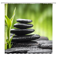 LB Zen Stone Shower Curtain with Asian Lotus Flower Reflection on Water Bathroom Waterproof Polyester Fabric For Bathtub Decor