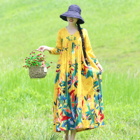 2019 New Autumn Women dress Loose Print Embroidery V Neck National Cotton Long Wind Dresses Red Green Navy Yellow 8152