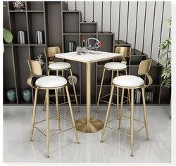Железный барный стул простой свежий молочный чай магазин стол стул Сетка Красный барный столик стул сочетание высокий стол стул маленький ...