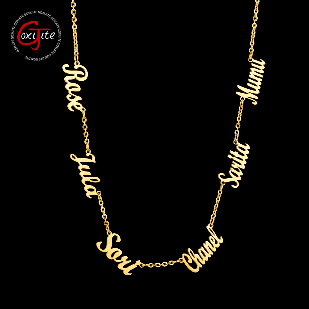 Goxijite Personalized Multiple Names Necklace Custom 6 Nameplates Pendant Necklaces Jewellry Best Gift Stainless Steel