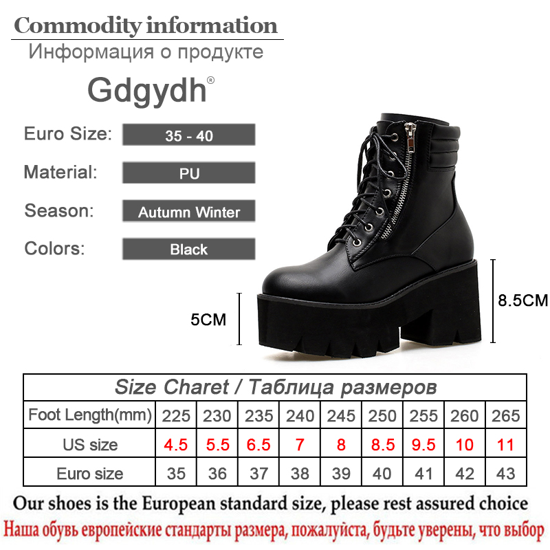 Gdgydh Wholesale Autumn Ankle Boots For Women Motorcycle Boots Chunky Heels Casual Lacing Round Toe Platform Boots Shoes Female in Ankle Boots from Shoes