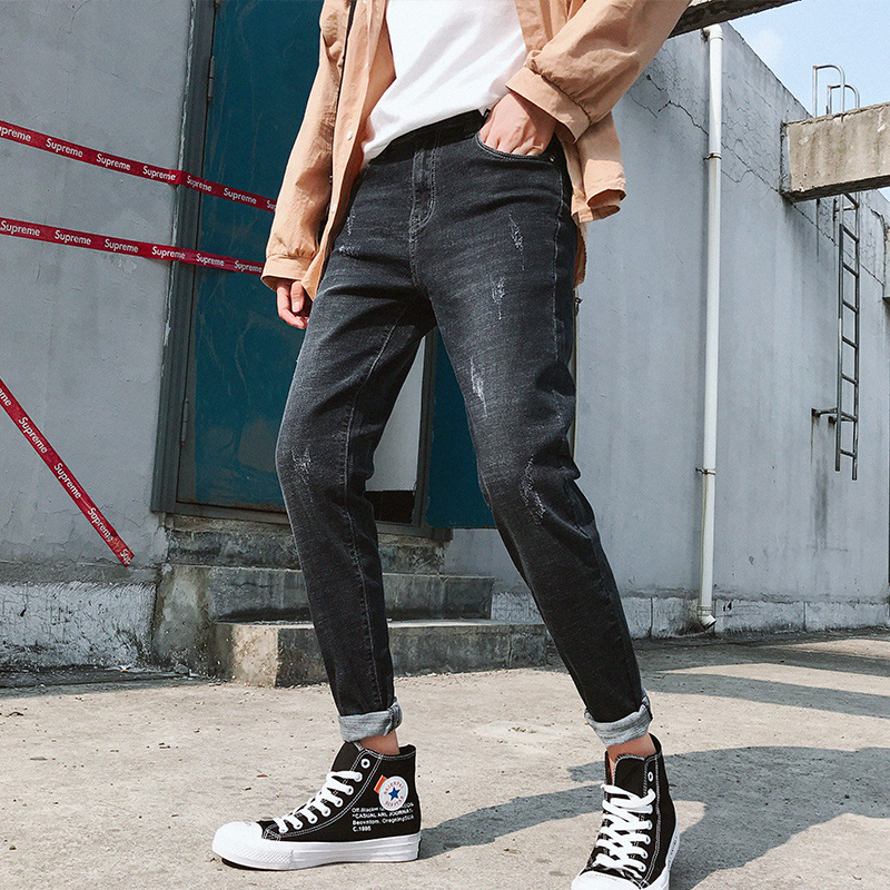 2019 Autumn & Winter Elasticity Jeans Men's Casual Slim Fit Pants Pants Men's Korean-style Trend MEN'S Trousers