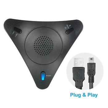 Mikrofon konferencyjny USB VOIP wielokierunkowy pulpit przewodowy mikrofon z mikrofonem głośnikowym na PC Laptop spotkanie biurowe wideo tanie i dobre opinie Arealer CN (pochodzenie) Systemu wideokonferencji Other Microphone mini microphone Black Pentium 400MHz or above 34dB 103g 3 6oz
