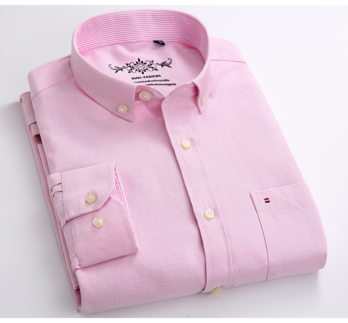 Hfeeee005a9a0411198eb769a85d5945ab Men's Plus Size Casual Solid Oxford Dress Shirt Single Patch Pocket Long Sleeve Regular-fit Button-down Thick Shirts