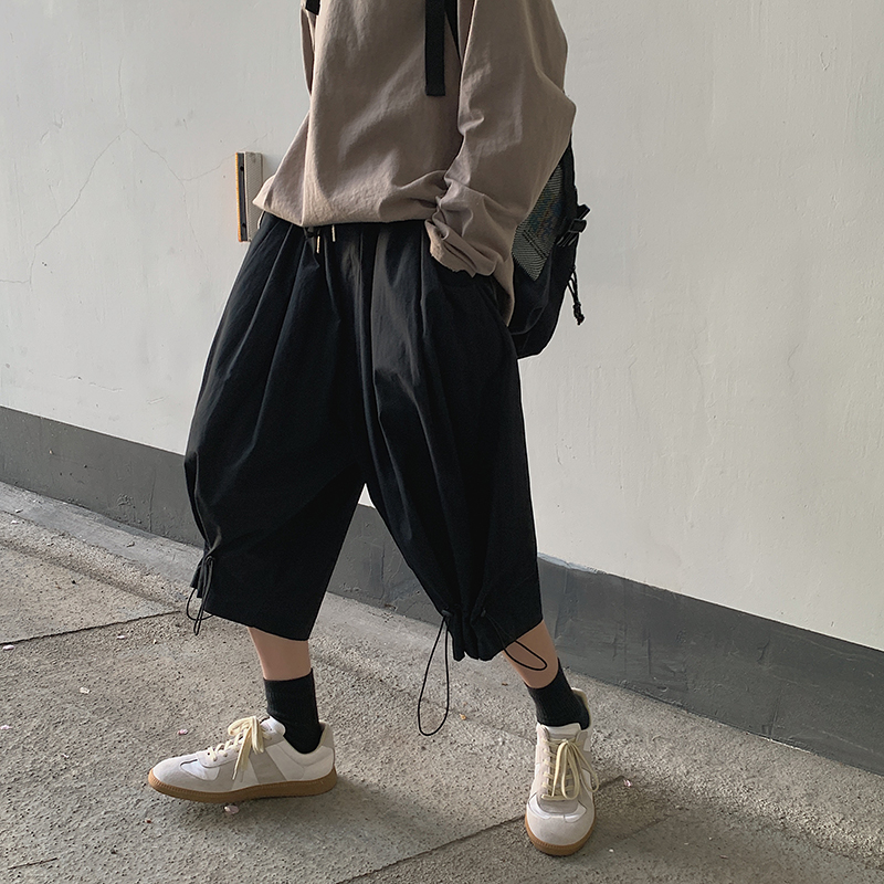 Summer Straight Casual Pants Men's Fashion Solid Color Hip-hop Pants Men Streetwear Wild Loose Drawstring Trousers Mens M-2XL