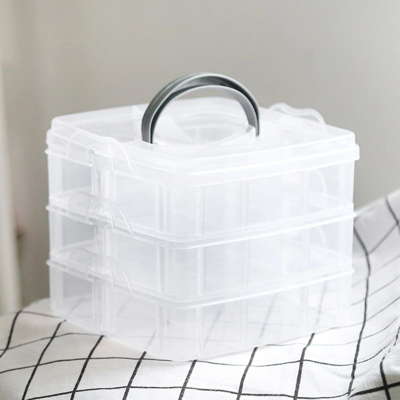 Transparent Portable Large Jewelry Organizer Storage Box Container Case Display