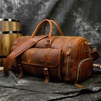 Vintage Crazy Horse leder Reisetasche Mit Schuh Tasche 20 zoll große kapazität Echt Leder Wochenende luuage Tasche große Messenger tasche