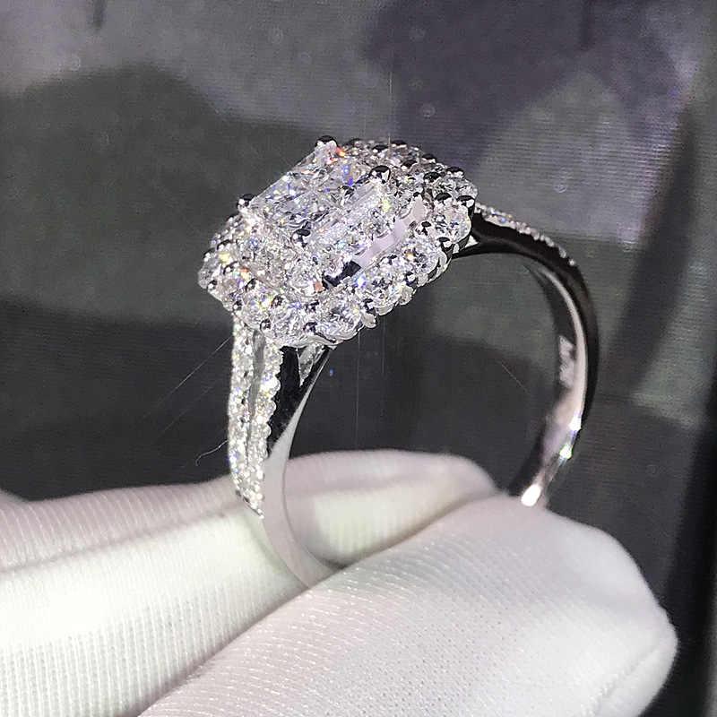 豪華キラキラビッグ石ジルコンシルバーリング女性の婚約結婚指輪光沢のあるリングパーティージュエリーファッション女性 2019
