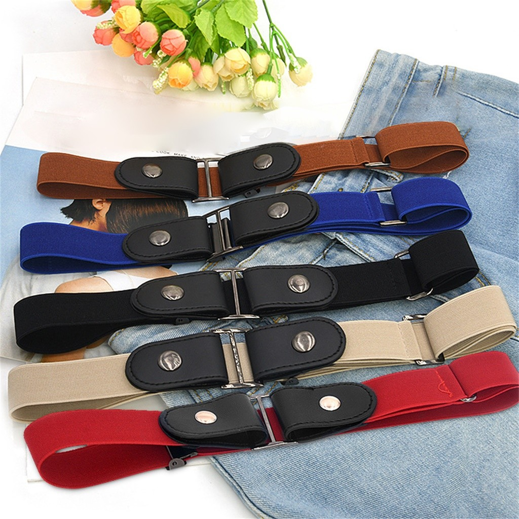Women Men Buckle-Free Elasticated Belt Comfortable Invisible Belt For Jean Pants