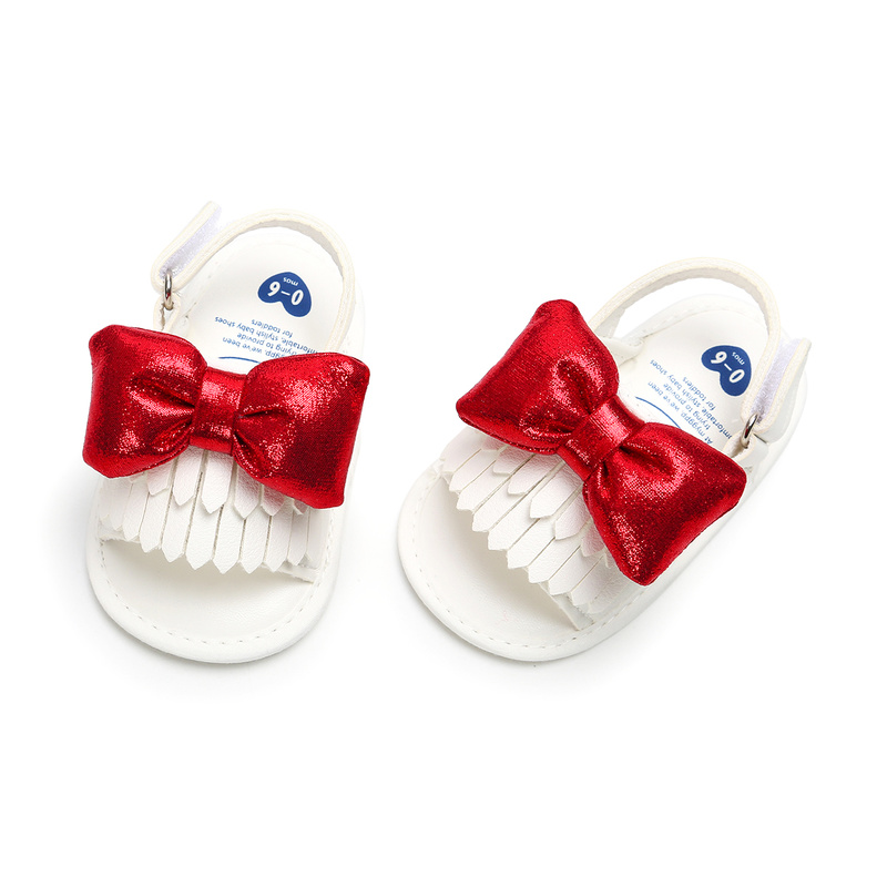 2019 Baby Sandals Girls Red Bowknot Fringe Bling Newborn Infant Toddler Anti-Slip Cotton Sole First Walkers Cute Summer Shoes