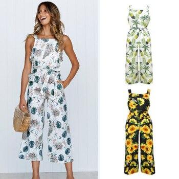 1 Pcs Ladies Womens Fashion Floral Long Playsuit Jumpsuit Holiday Beach Summer Printed Sleeveless Ju