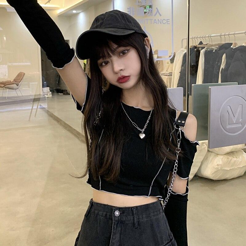 Онлайн красная популярная одежда для девочек, черная футболка с коротким рукавом, женский летний облегающий топ в Корейском стиле, новинка ...
