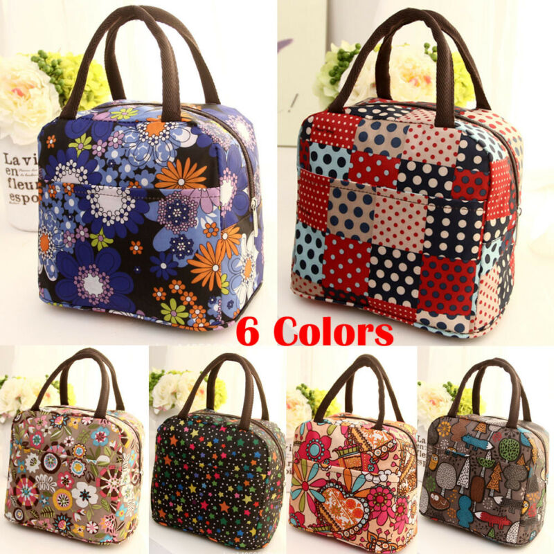 New Floral Geometric Print Portable Thermal Insulated Lunch Box Food Storage Bag Picnic Carry Tote Lunch Bag for Work School