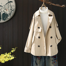 Short Windbreaker Female Fashion Trench Autumn Women Elegant Trench Ladies Khaki Women Trench Women Short Trench Coat HH50FY cheap yucheng Full Satin Casual COTTON Polyester Button Pockets Pleated Solid women s fashion trench coat autumn Turn-down Collar