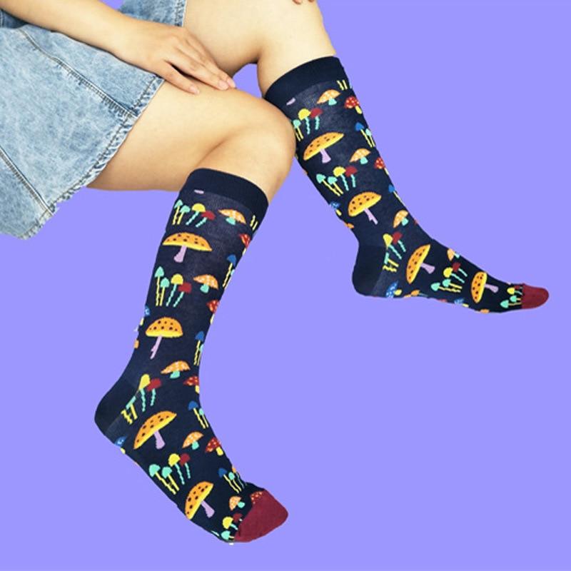 Men's Crew Cotton Colorful Socks Mushroom Pattern Breathable Comfortable Party Novelty Funny Socks Casual Fashion Socks