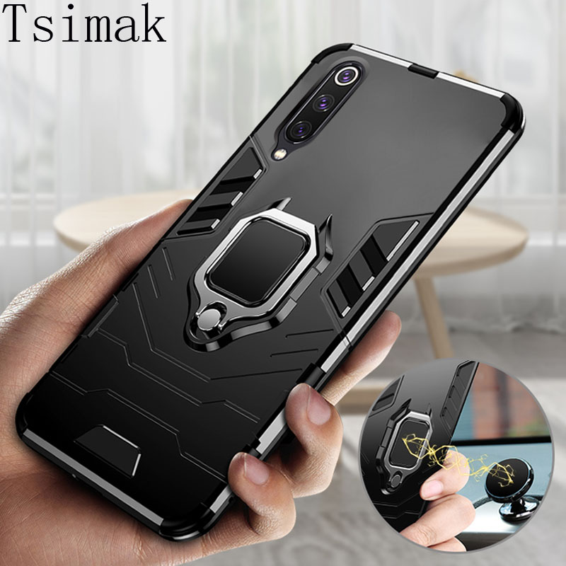 Shockproof Armour Case Xiaomi Mi 9T Pro Mi9 SE 8 Lite CC9 CC9E Play 5X 6X Mix 2s Max 3 Note 10 Pro Car Ring ტელეფონი Cover Coque