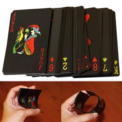 Qualité imperméable à l'eau en plastique PVC jeu de cartes tendance 54 pièces Deck Poker classique tours de magie outil pur noir boîte de magie-emballé