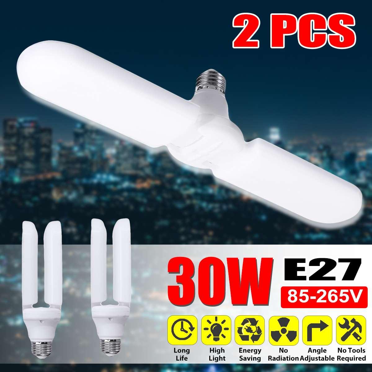2PCS Super Bright Led Garage Light Deformable Industrial Lighting E27 30w 85-265v 2835 Workshop Ceiling Lights