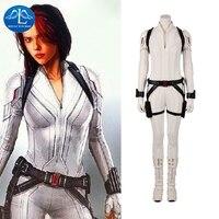 Manluyunxiao Black Widow Cosplay Marvel Superhero White Jumpsuit Halloween Costume For Women Natasha Romanoff Outfit Custom Made