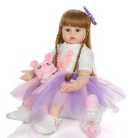 60cm Big Size Reborn Toddler Doll Toy Lifelike Vinyl Princess silicone baby doll with purple dress Cloth Body Alive bebes rebor