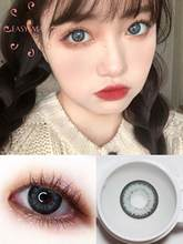 Easysmall macio olhos lentes de contato cinza escuro natural colorido 14.5mm grande bonito grau aluno 2 pcs/par miopia prescrição