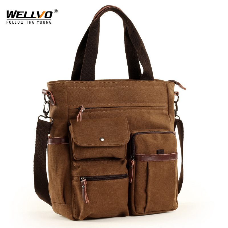 Men Large Canvas Tote Waterproof Crossbody Bags For Women Multi-functional Casual Laptop Business Retro Messenger Bag XA129ZC