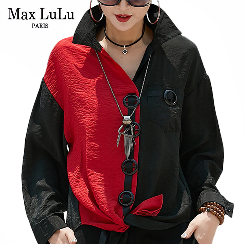 Max LuLu New 2019 Fashion Korean Style streetwear Autumn Punk Tops cotton Blouses Women Chiffon Shirts Vintage Patchwork Clothes