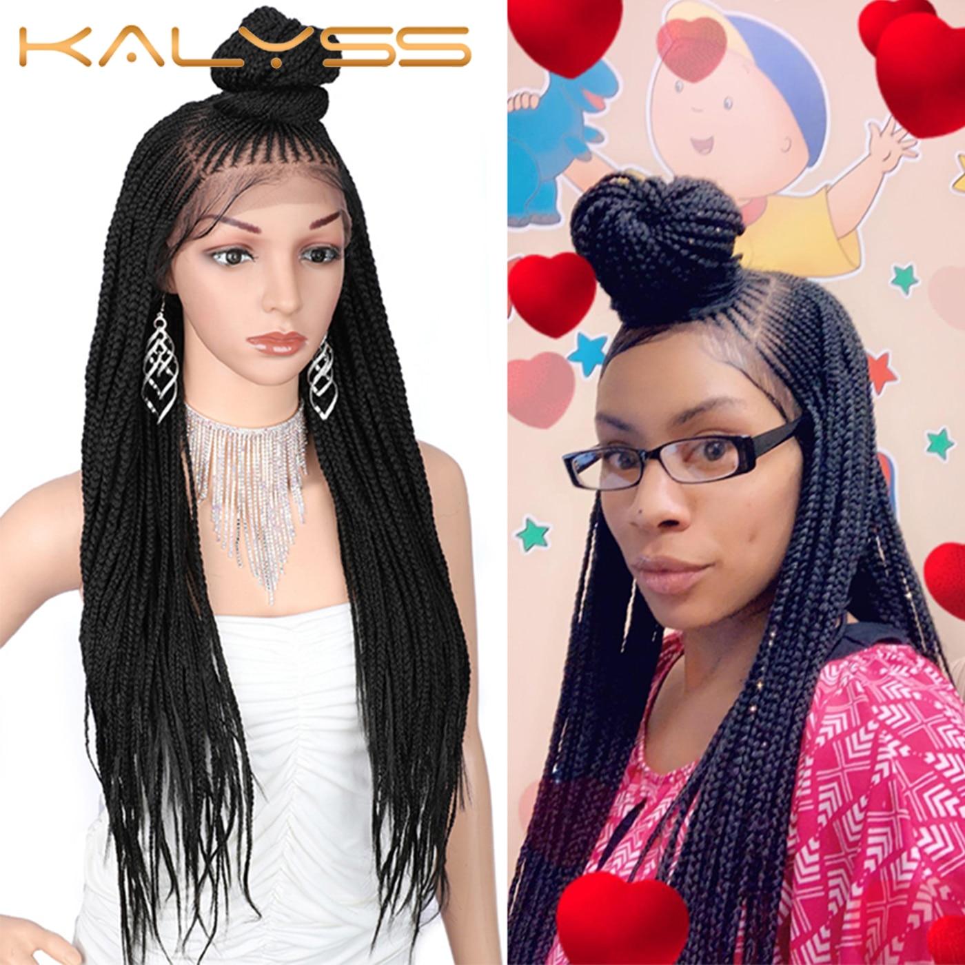 Kaylss 30 pouces 13x7 tressé perruques synthétique Lace Front perruque Updo tressé perruques avec des cheveux de bébé pour les femmes noires Cornrow tressé perruque