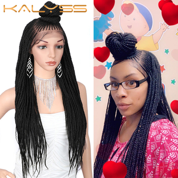 Kaylss 30 Inches 13x7 Braided Wigs Synthetic Lace Front Wig Updo Braided Wigs with Baby Hair for Black Women Cornrow Braided Wig фото