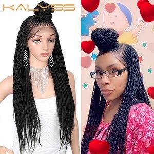 Image 1 - Kaylss 30 polegadas 13x7 trançado perucas sintéticas peruca dianteira do laço updo trançado perucas com cabelo do bebê para preto feminino cornrow trançado peruca