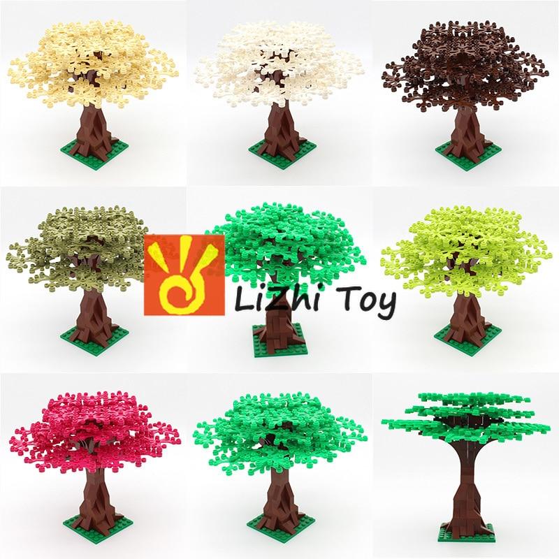 Lizhi DIY строительные блоки кирпичи MOC садовое растение дерево двор совместимые все бренды частицы просветить игрушки город Вид улицы