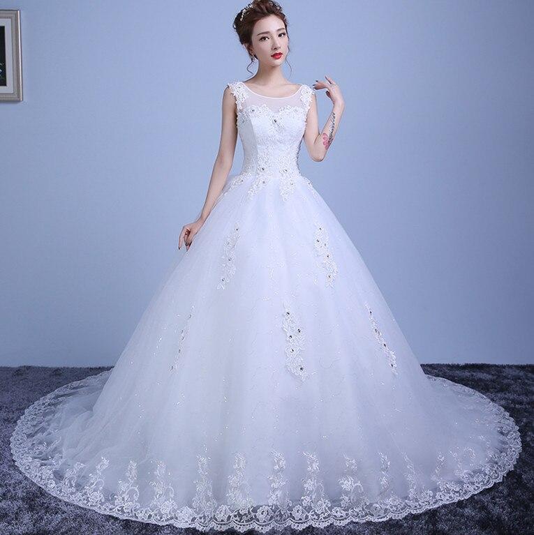 Arabic Lace Wedding Dress Ball Gown 2018 Scoop Beading Court Train Bridal Dress Wedding Gown Vestido De Noiva Plus Size