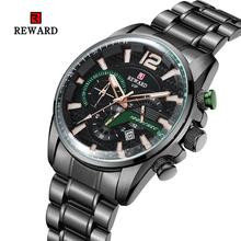 цена REWARD watch male men factory explosion models fashion quartz watch three-eye sports multi-function steel belt men's watch онлайн в 2017 году