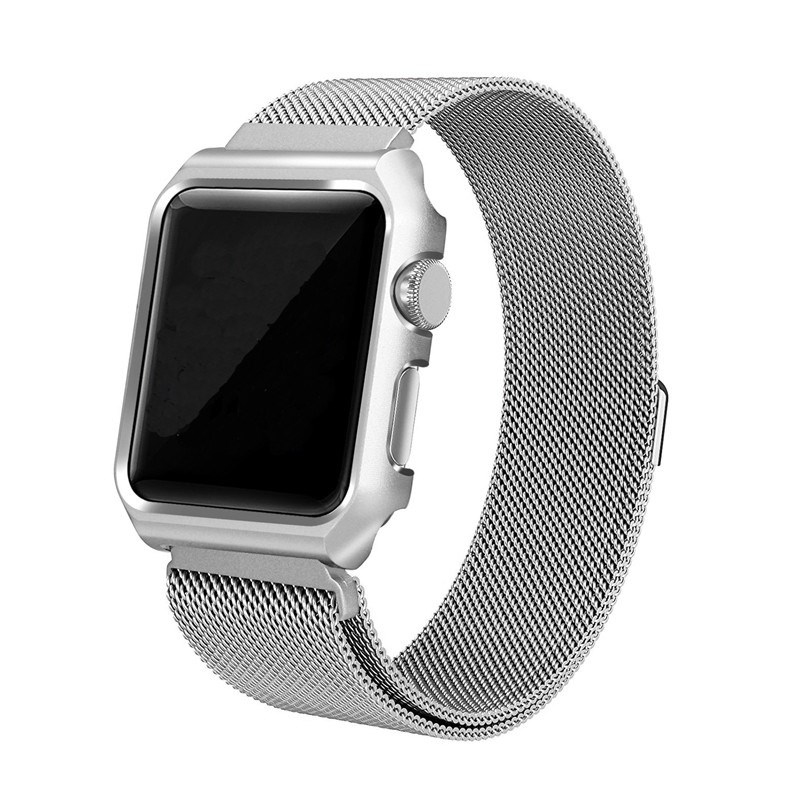 Strap For Apple Watch 42mm One Body Milanese Loop Metal Silver