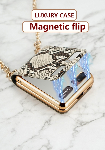 Luxury Mirror Case for Samsung Z Flip 5G Cover Makeups Bag Phone Case with Chain Strap Shockproof Shell for Galaxy Z Flip Case 4