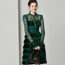 Vintage Flare Sleeve Bow Layered Dress Women Dark Green Lace Sexy Hollow Out Little Black Dresses High Waist Tunic Fall