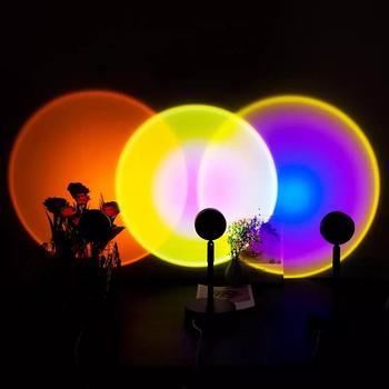 2021 przycisk USB Rainbow Sunset projektor atmosfera Led lampka nocna Home Coffe Shop dekoracja ścienna w tle kolorowa lampa tanie i dobre opinie JIAMEN atmosferyczne Other CN (pochodzenie) ROHS Rainbow Sunset Projector Night Lampki nocne Z aluminium Żarówki LED PRZEŁĄCZNIK