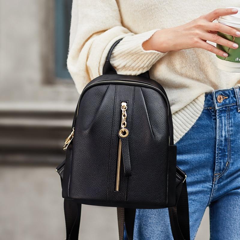 ZOOLER Women Backpack Genuine Leather School Backpacks For Teenage Girls Black Soft Casual Travel Bolsas Feminima Women Bags