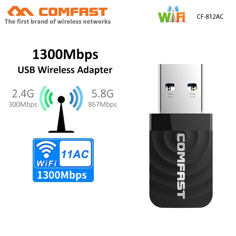 Dual Band Network Card 1300Mbps Wi Fi Adapter 2.4Ghz 5ghz Antenna USB Ethernet PC Wi-Fi Adapter Lan Wifi Dongle AC Wifi Receiver