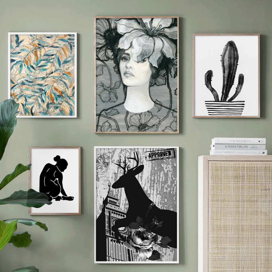 Flower Cactus Deer Plant Girl Nordic Canvas Posters And Prints Wall Art Painting Watercolor Pictures For Living Room