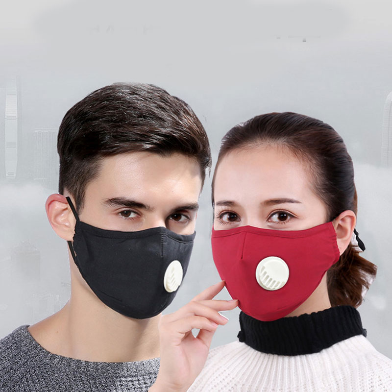 Anti PM2.5 Mouth Mask Cotton Dust Mask Washable Reusable Face Mask Unisex Mouth Muffle With Breathing Valve Filter Mask