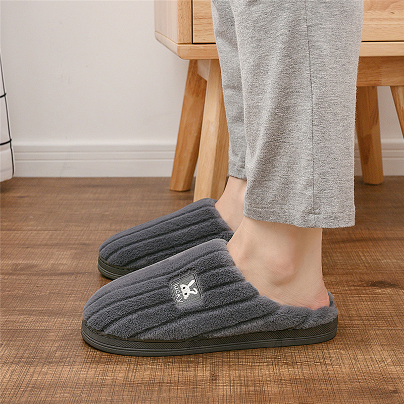 Couple Models New Winter Mens Warm Slippers Embroidery Rabbit Non-slip Solid Color Floor Home Flat Slides Bedroom Shoes A40