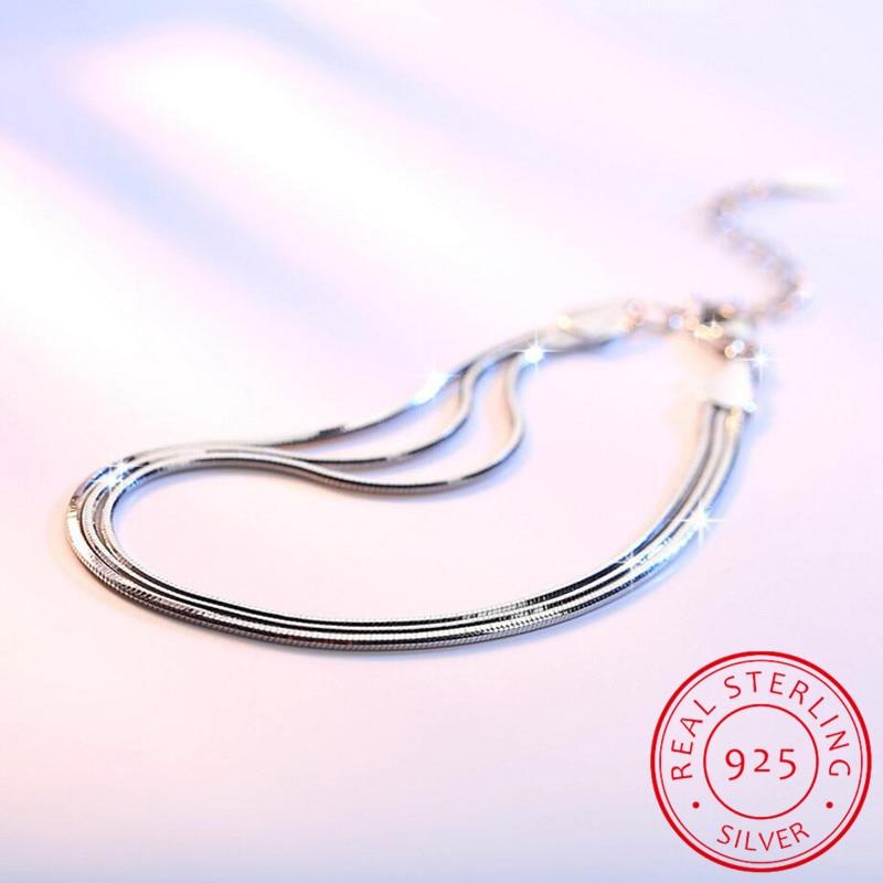 2019 New Simple Multilayer Tassel Snake Chain Bracelet Genuine 100% 925 Sterling Silver Jewelry For Women Chrismas Gift