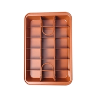 Non Stick Brownie Pan Tin With Dividers,Heavy Duty Divided Brownie Tray,18 Cavity,12 By 8 Inches,Dark Gold