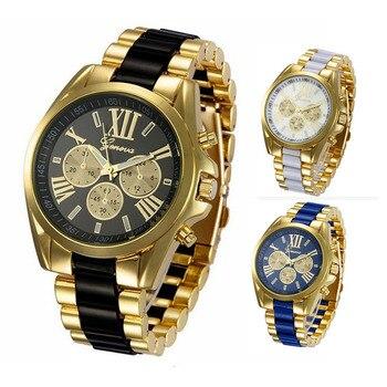 цена на Luxury Brand Watch hodinky Gold Fashion Men Women Full Stainless Steel Quartz Watch Gift Saats Ceasuri Black Relogio Feminino