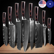 Knives-Tool Chef-Knife Slicing Cleaver Kitchen-Accessories Laser Stainless-Steel Damascus-Pattern
